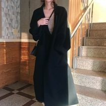 Street Style Plain Long Color Liner Formal Style  Wrap Coats