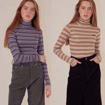 SCULPTOR Stripes Casual Style Long Sleeves Cotton Medium Turtlenecks