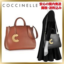 COCCINELLE 2WAY Plain Leather Elegant Style Totes