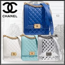 CHANEL BOY CHANEL Calfskin Studded Chain Plain Elegant Style Shoulder Bags