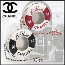 CHANEL Lambskin Studded Street Style Bi-color Chain Elegant Style