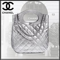 CHANEL Calfskin Studded Chain Plain Elegant Style Totes