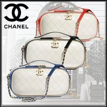 CHANEL Calfskin Studded 2WAY Bi-color Chain Elegant Style