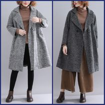 Other Check Patterns Casual Style Medium Oversized Peacoats