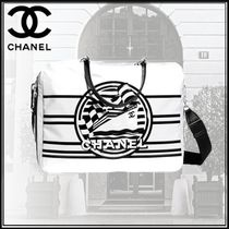 CHANEL Stripes Blended Fabrics Studded 2WAY Bi-color Chain