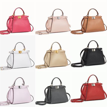 FENDI SELLERIA 2WAY Plain Leather Elegant Style Handbags