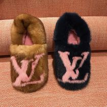 Louis Vuitton Plain Toe Fur Bi-color Elegant Style Slippers Slip-On Shoes