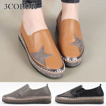 Star Wedge Round Toe Casual Style Studded Street Style