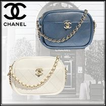 CHANEL Studded 2WAY Chain Plain Elegant Style Shoulder Bags