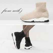 Rubber Sole Street Style Plain Mid Heel Boots