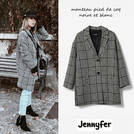 Other Check Patterns Casual Style Wool Medium Coats