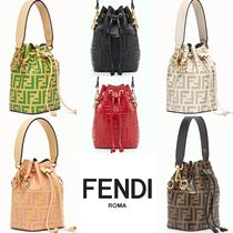 FENDI MON TRESOR Monogram Casual Style Leather Purses Handbags