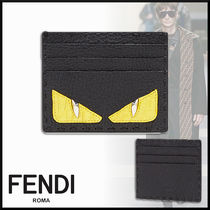 FENDI BAG BUGS Studded Plain Leather Card Holders