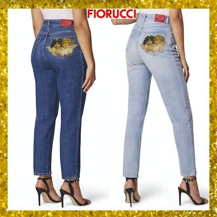 Street Style Plain Other Animal Patterns Cotton Long Jeans