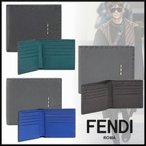 FENDI SELLERIA Plain Leather Folding Wallets