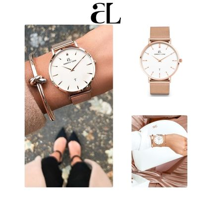 Casual Style Unisex Chain Round Quartz Watches Stainless