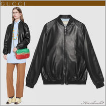 GUCCI Short Plain Leather Oversized Souvenir Jackets