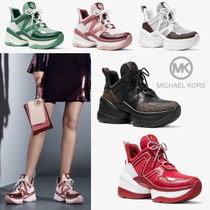 Michael Kors Round Toe Rubber Sole Lace-up Casual Style Leather