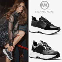 Michael Kors Round Toe Rubber Sole Lace-up Casual Style Plain Leather