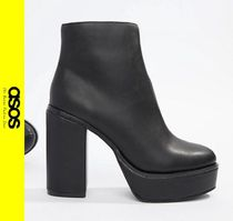 ASOS Platform Casual Style Faux Fur Ankle & Booties Boots