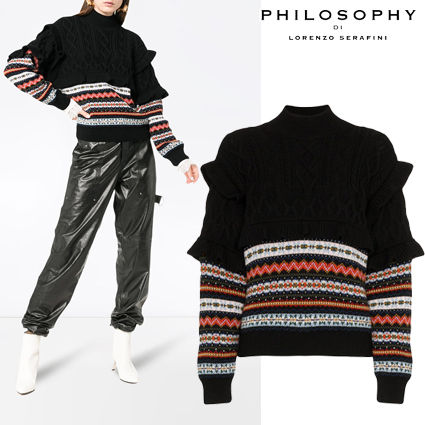 Cable Knit Stripes Casual Style Wool Long Sleeves Medium