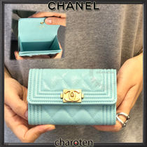 CHANEL BOY CHANEL Calfskin Plain Card Holders