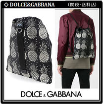 Dolce & Gabbana Tropical Patterns Unisex Nylon A4 Bi-color Backpacks