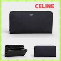 CELINE Zipped Unisex Calfskin Street Style Plain Long Wallets