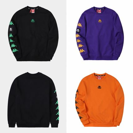 Kappa Sweatshirts Unisex Street Style Logos on the Sleeves Sweatshirts