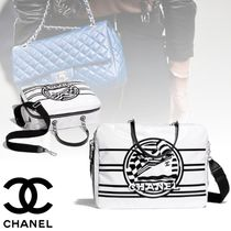 CHANEL Calfskin Blended Fabrics Street Style 2WAY Elegant Style