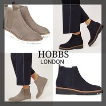 Hobbs London Rubber Sole Casual Style Suede Plain Chelsea Boots