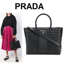 PRADA DIAGRAMME Calfskin A4 2WAY Office Style Handbags
