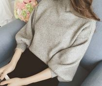 Cable Knit Blended Fabrics Long Sleeves Plain Medium