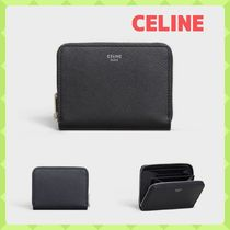 CELINE Zipped Unisex Calfskin Street Style Plain Folding Wallets