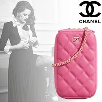 CHANEL MATELASSE Chain Leather Elegant Style Shoulder Bags