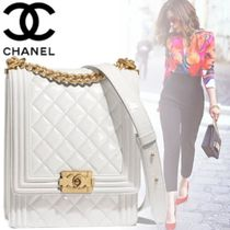 CHANEL BOY CHANEL Calfskin Blended Fabrics 2WAY Chain Plain Elegant Style