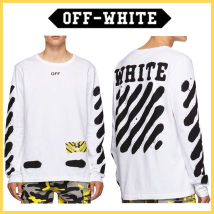 Off-White Long Sleeve Stripes Street Style Long Sleeves Cotton