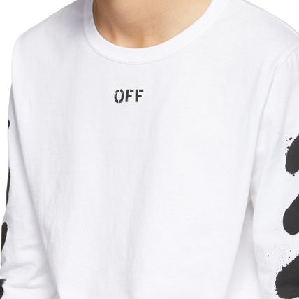 Off-White Long Sleeve Stripes Street Style Long Sleeves Cotton 2