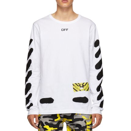 Off-White Long Sleeve Stripes Street Style Long Sleeves Cotton 3