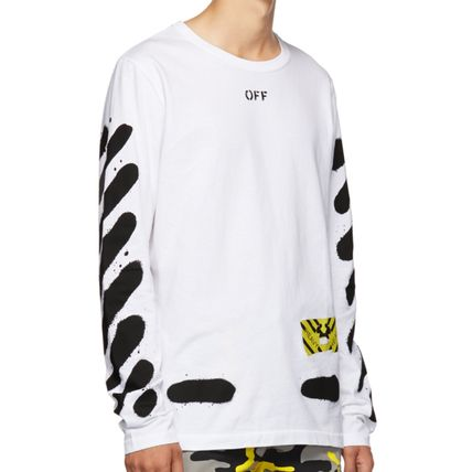 Off-White Long Sleeve Stripes Street Style Long Sleeves Cotton 4