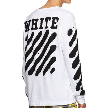 Off-White Long Sleeve Stripes Street Style Long Sleeves Cotton 5