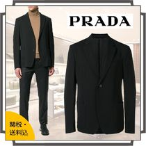 PRADA Short Blended Fabrics Bi-color Plain Blazers Jackets