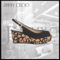 Jimmy Choo Open Toe Platform Suede Platform & Wedge Sandals