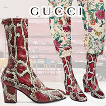 GUCCI Plain Toe Leather Block Heels Python Elegant Style