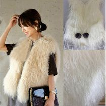 Short Casual Style Faux Fur Plain Fur Vests Eco Fur