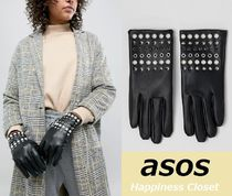 ASOS Faux Fur Blended Fabrics Leather & Faux Leather Gloves