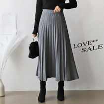 Casual Style Pleated Skirts Plain Long Maxi Skirts