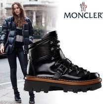 MONCLER Plain Toe Mountain Boots Rubber Sole Unisex Plain Leather