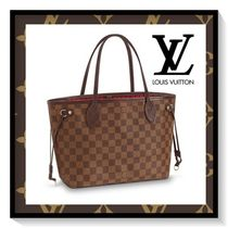 Louis Vuitton NEVERFULL Other Check Patterns Casual Style Canvas Blended Fabrics