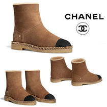 CHANEL Round Toe Suede Plain Wedge Boots
